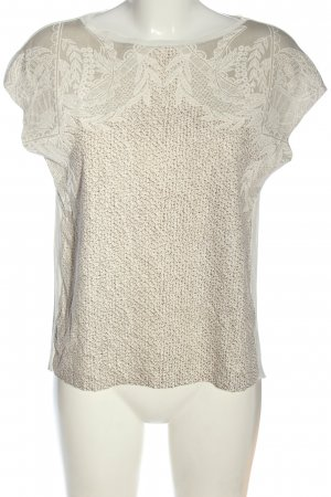 Zara Schlupf-Bluse wollweiß-weiß Blumenmuster Casual-Look
