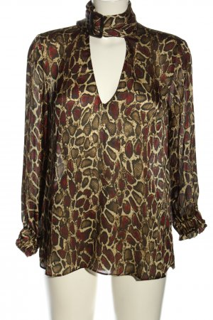 Zara Tie-neck Blouse bronze-colored-gold-colored allover print elegant