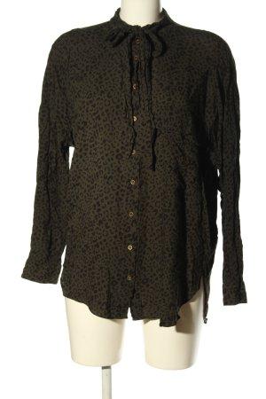 Zara Tie-neck Blouse khaki-black leopard pattern casual look