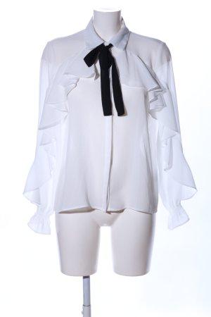 Zara Blusa collo a cravatta bianco stile professionale