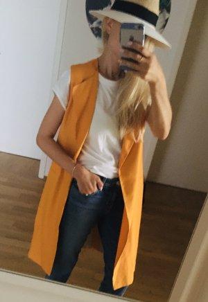 Zara Lang gebreid vest oranje Viscose