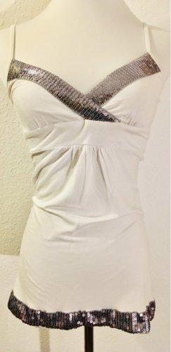 Zara schönes Top mit Pailletten weiß Gr.34