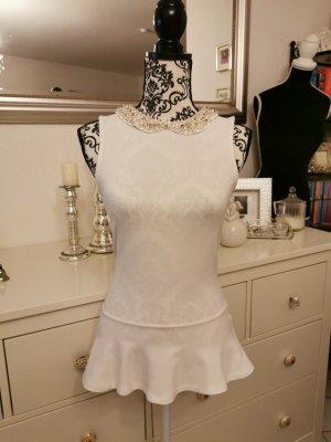 Zara Top z baskinką w kolorze białej wełny