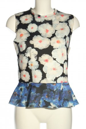 Zara Top peplum estampado repetido sobre toda la superficie look casual