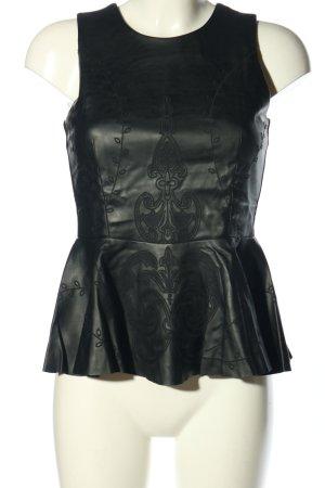 Zara Top peplo nero motivo astratto stile casual