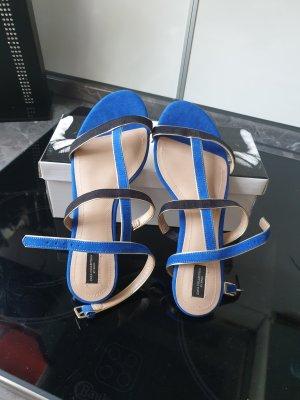 Zara Sandalias de tacón de tiras azul