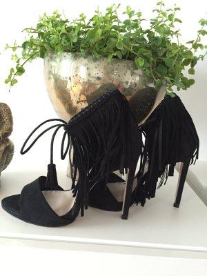 Zara Schuhe high Heels Gr 38  schwarz Fransen