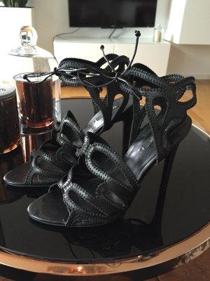 Zara Schuhe Sandaletten high Heels Gr 38 schwarz echtes Leder