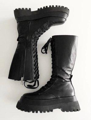 Zara Schuhe Stiefel Boots Plateau Schnüren Oversize Ausverkauft Blogger