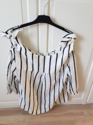 Zara Top sin hombros blanco-negro