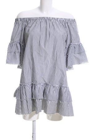 Zara schulterfreies Kleid weiß-schwarz Streifenmuster Casual-Look