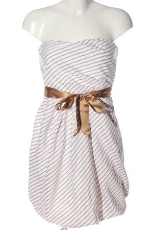 Zara Sukienka bez ramiączek biały-brązowy Wzór w paski Elegancki
