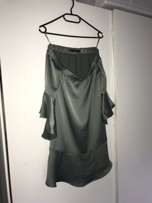 Zara Off-The-Shoulder Dress pale blue-sage green