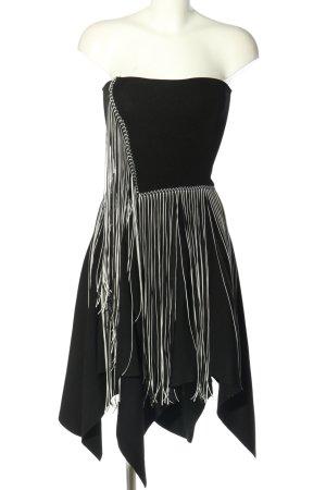Zara schulterfreies Kleid schwarz-weiß Elegant