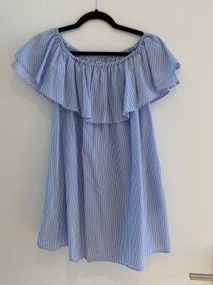 Zara schulterfreies Kleid gestreift