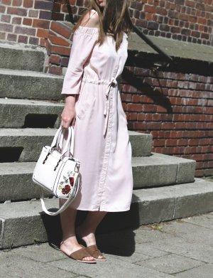 Zara Schulterfreies Kleid Midikleid rose 36 Midi