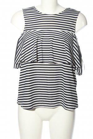 Zara Volanten top wit-zwart volledige print casual uitstraling
