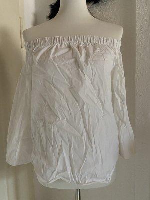 Zara schulterfreies Top in weiß Gr. S 36