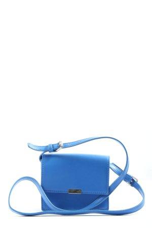 Zara Schultertasche blau-silberfarben Casual-Look