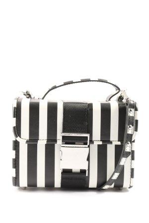 Zara Schultertasche schwarz-weiß Streifenmuster Casual-Look