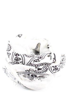 Zara Schultertuch weiß-schwarz abstraktes Muster Casual-Look