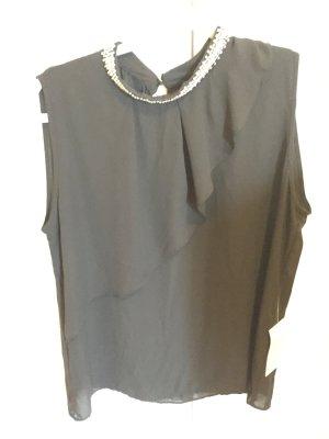 Zara schwarze Kurzarm Tunika mit Volant XL NEU m Etikett romantische Impressionen