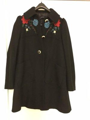Zara schwarze Mantel Blumenstickerei