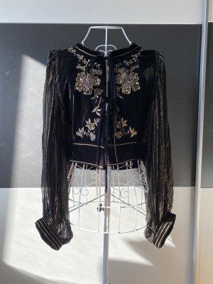 Zara schwarze Samtjacke mit goldener Stickerei in XS