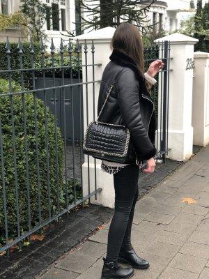 Zara schwarze tasche echtes leder