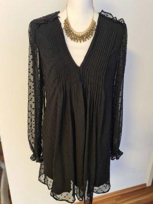 Zara schwarzes Kleid langarm transparent Pünktchen Gr. L