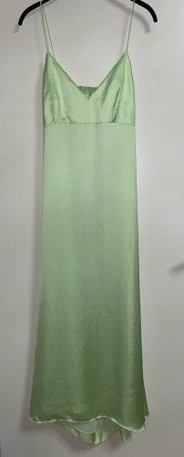 Zara Seiden Kleid midi Satin Optik Maxikleid lang V Ausschnitt L 40 Grün