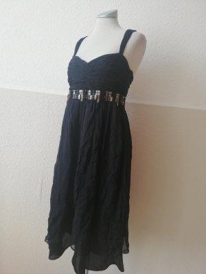 Zara Seidenkleid schwarz Pailletten Seide Kleid kurz EUR M 38