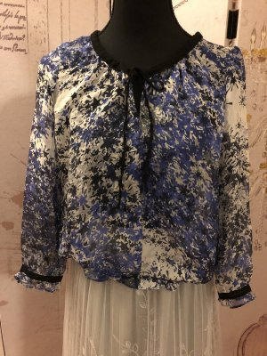 Zara Silk Top white-blue