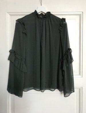 Zara • Semi-transparente, waldgrüne Bluse mit Volants Gr. 36