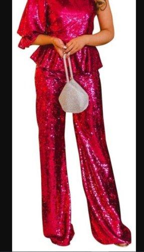 Zara sequin paillettes trousers flare pink fuchsia M Hose Neu
