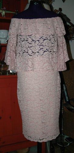 Zara Set aus Carmen Bluse & Bleistiftrock rosa Spitze Rüschen Volant Gr.L Neu