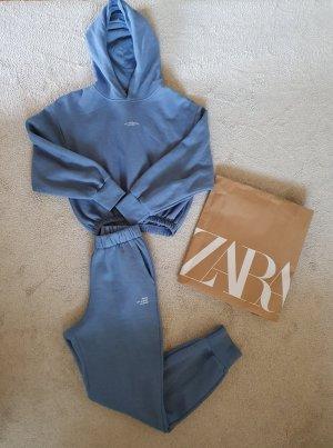 Zara Felpa con cappuccio azzurro