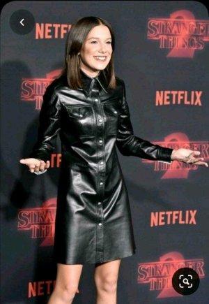 Zara Vestido de cuero negro Cuero