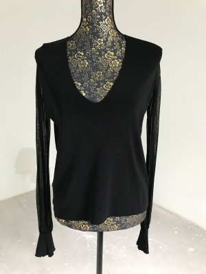 Zara Knit T-shirt col en V noir