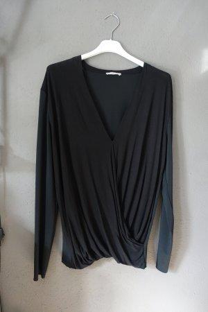 Zara Shirt, Bluse, Materialmix, schwarz, V-Ausschnitt, drapiert