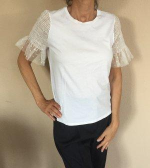 Zara Camicetta a maniche corte bianco-crema Cotone