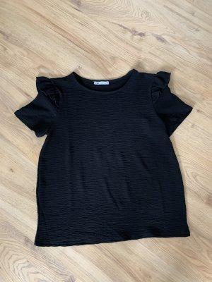 Zara Shirt / Blusenshirt mit Volant - schwarz