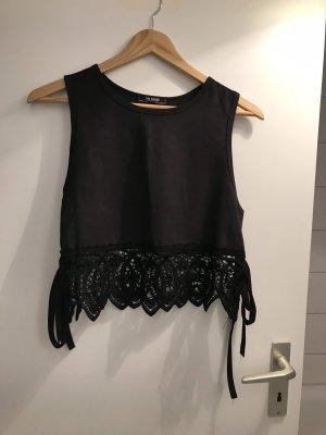 Zara Szydełkowana koszulka czarny