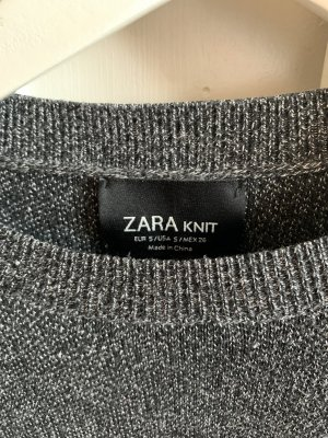 Zara Camisa de ganchillo negro-color plata