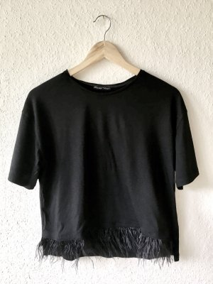 Zara Shirt Federn schwarz Gr. S