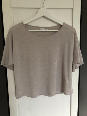 Zara Shirt mit Cape Rücken grau | S