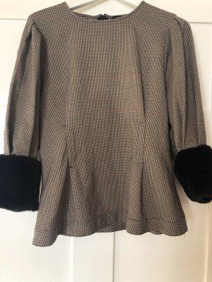 Zara Shirt mit Kunstfell und Puffärmeln Hahnentritt Muster Gr. S 36 oversize