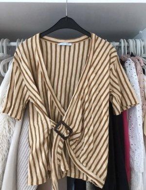Zara Kopertowa koszulka Wielokolorowy Tkanina z mieszanych włókien