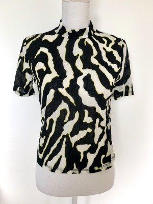 ❤️ ZARA Shirt S 36 Zebra-Muster Schwarz Weiß ❤️
