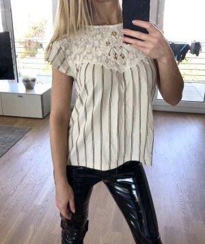 Zara Shirt Top 36 S Beige Spitze